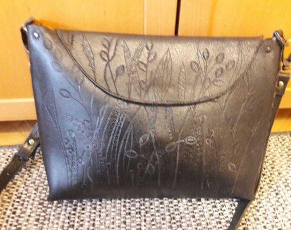 Skorzana torebka z juchty