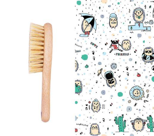 Lullalove Szczotka Z Naturalnego Włosia + Myjka Jeż Niebieski