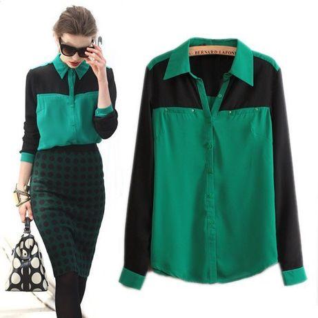 Блуза женская шифоновая зеленая черная