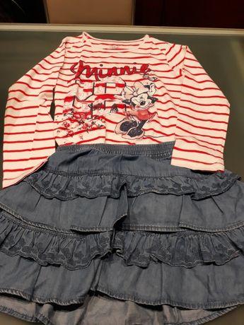Conjunto de menina (2 t-shirt e 1 saia) -7/8 anos