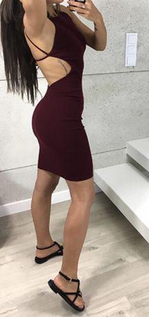 Nowa bordowa burgundowa sukienka gołe plecy z gołymi plecami bandażowa