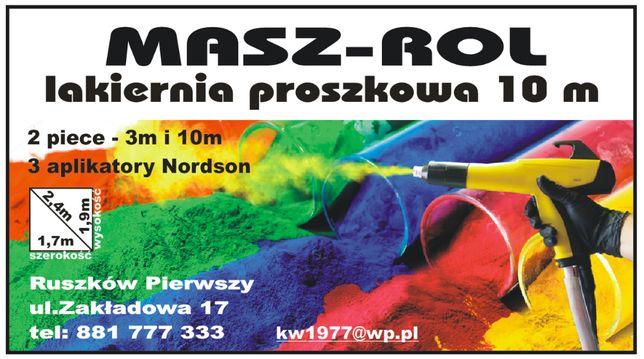 Malowanie proszkowe lakiernia dwie linie 10 m i 3 m 35 zł/mkw