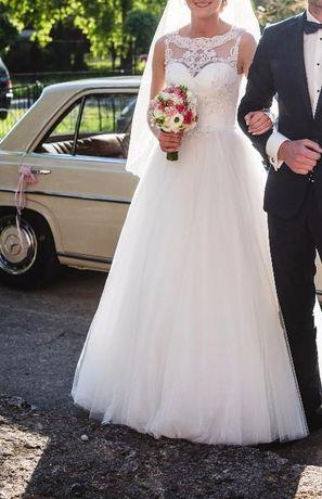 Śmietankowa Suknia Ślubna Maxima 0716 + welon gratis