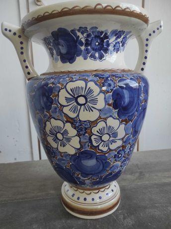 Duży zdobiony wazon fajans Włocławek