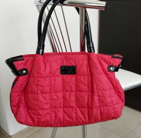 Luciano Carvari фирменная красная сумка, болоньевая