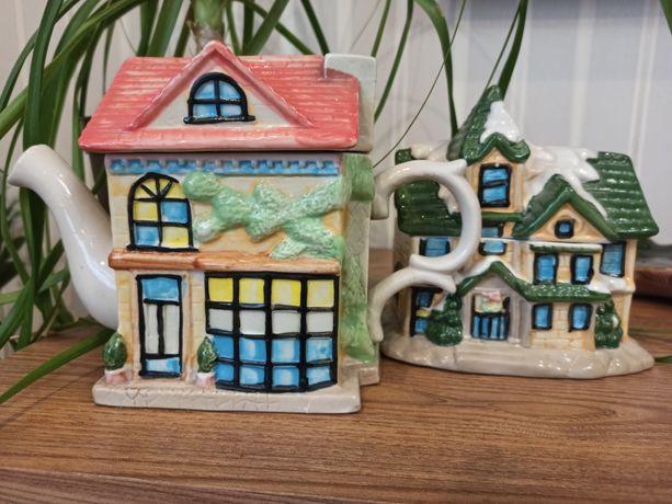Набір чайник і цукорниця у формі будиночків