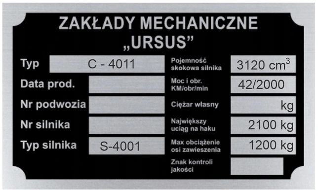 Tabliczka znamionowa URSUS C4011 aluminiowa