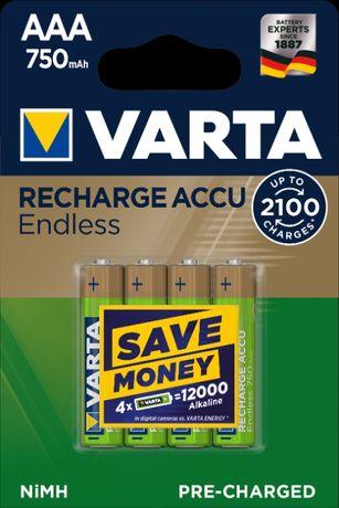 4X Akumulatorki VARTA Endless AAA 750 mAh