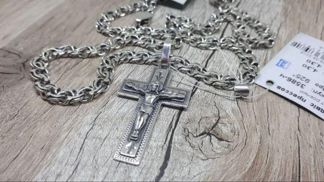 Серебряная цепочка и крестик. Серебро 925. Ланцюжок. Хрестик