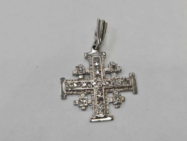 Wyjątkowy złoty krzyżyk męski / damski/ 585/ 3.03 gram/ 0.25 CT
