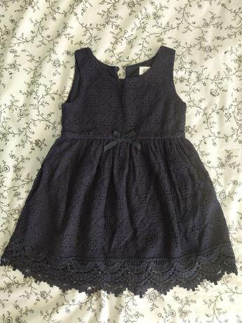 HM sukienka granatowa koronkowa piękna 18-24m 92 jak nowa