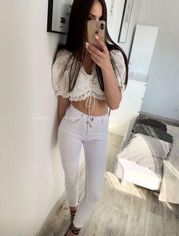 Spodnie białe jeasnowe basic XS S M L monshe.pl