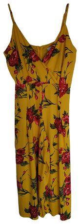 Kombinezon żółty w kwiaty szerokie nogawki XL