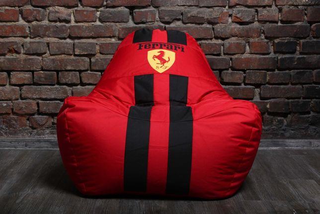 Бескаркасное кресло мешок диван ХL красное Феррари Ferrari с логотипом
