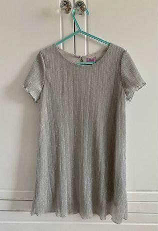 F&F sukienka 110/116 4/5 lat srebrna
