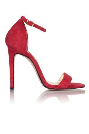 Босоножки красные замшевые замш каблук