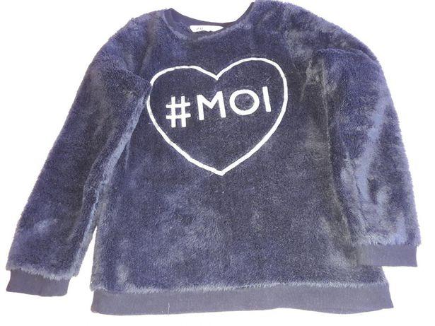 Czarna bluza H&M z futerkowego materiału, rozmiar 134/140.