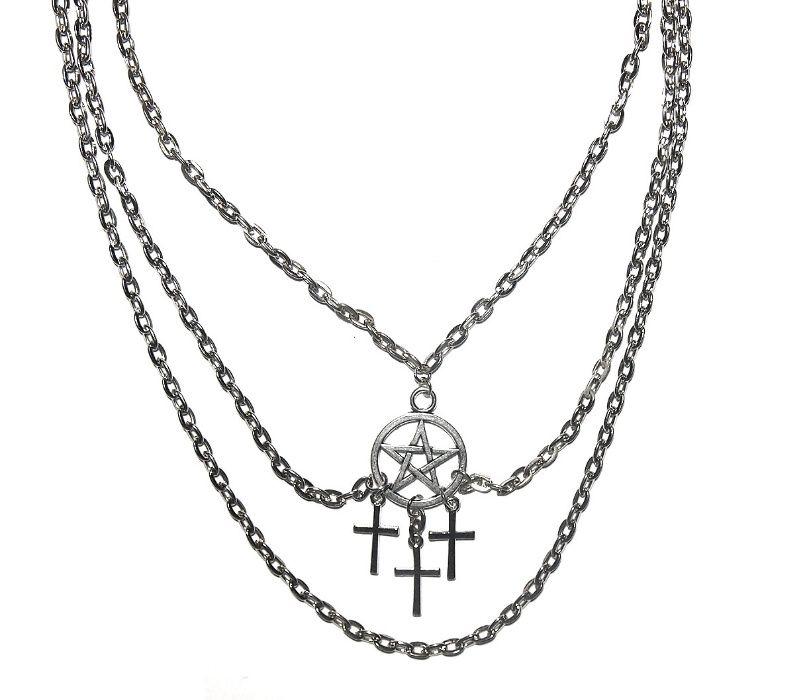 Naszyjnik Pentagram Łańcuch Choker Krzyż Amulet Skoczów - image 1
