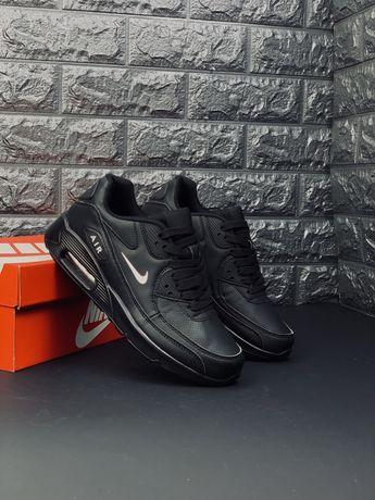 Кожаные черные Кроссовки Nike air max 90 кожаные кроссовки Найк 270