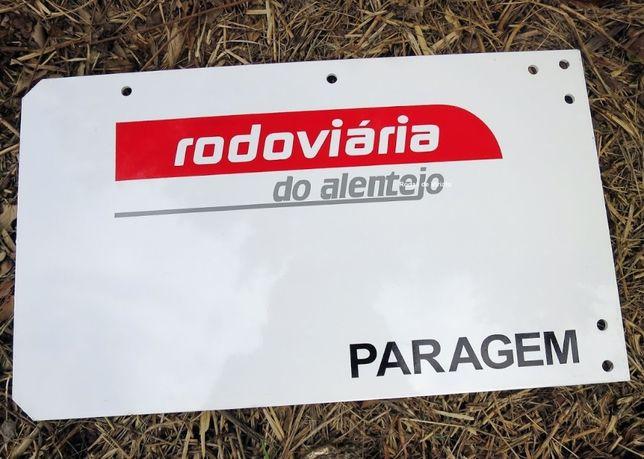 Antiga placa paragem Rodoviária do Alentejo autocarros bus