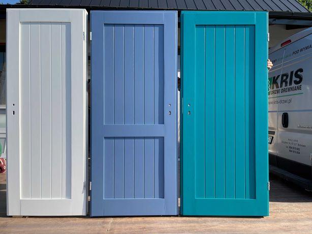 Drzwi drewniane sosnowe białe,niebieskie,turkusowe, CAŁA POLSKA