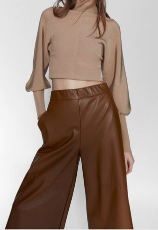 ZARA spodnie culotty ze sztucznej skóry