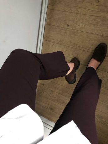 Śliwkowe spodnie, wiskozowe ,eleganckie, wysoki stan, wiosna