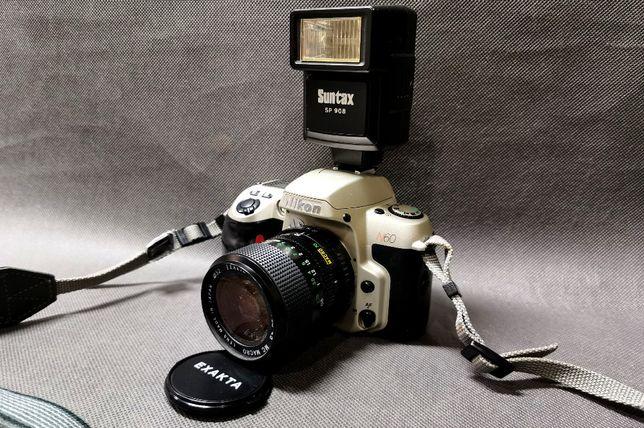 Rzadki Aparat Nikon N60 + Obiektyw Exakta 28-70 + Lampa sp908 Analog