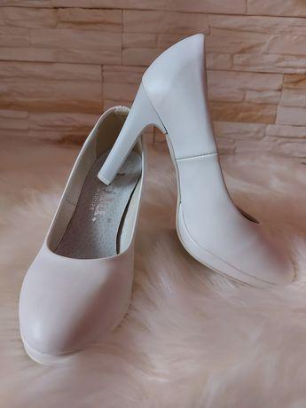 Buty szpilki białe ślubne Brilu