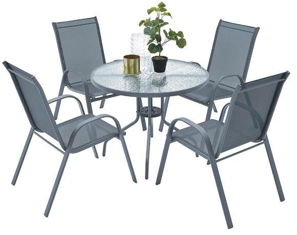 Meble ogrodowe zestaw tarasowy szklany stół 4 krzesła