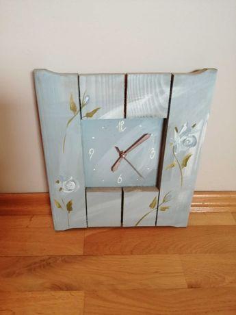 Zegar drewniany malowany