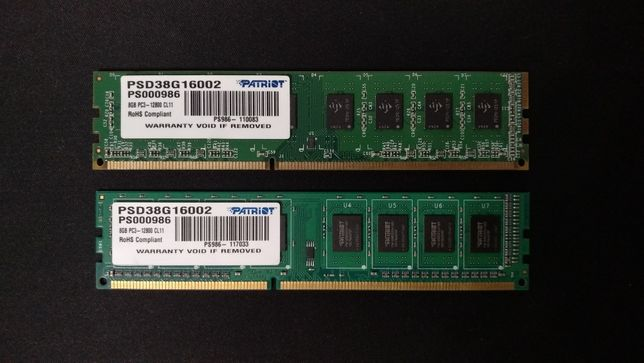 Комплект памяти 16ГБ: две планки Patriot DDR3-1600 8192MB PSD38G16002