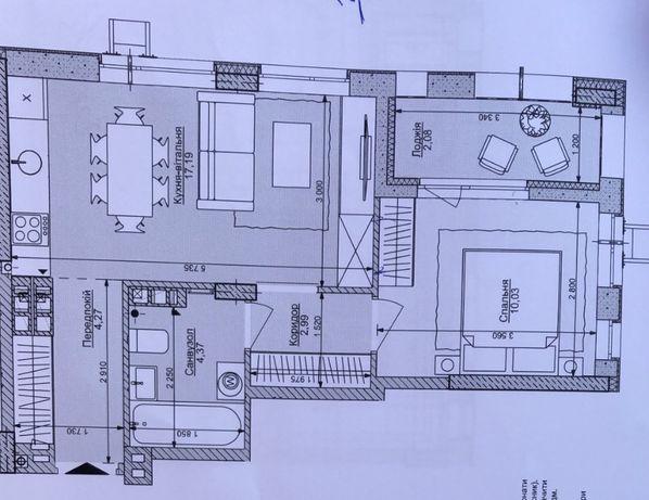 2-к квартира с черновым ремонтом, 41 м. Комфорт Таун