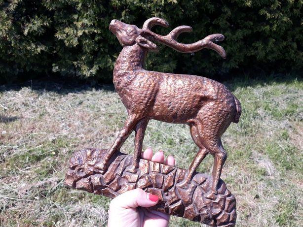 Ciężka mosiężna płaskorzeźba jelenia jeleń mosiądz polecam