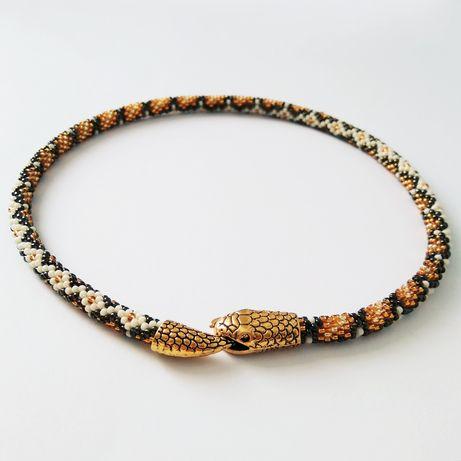 Naszyjnik handmade - złoty wąż - szklane koraliki