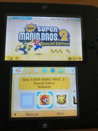 Nintendo 2DS com bolsa e três jogos (Venda ou Troca, ler descrição)