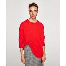 Zara oversize pomarańcz ostry czerwony neon sweter