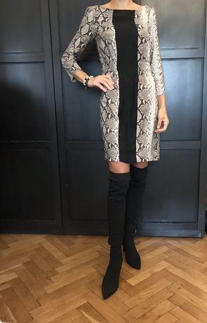 Zara wężowo czarna sukienka S