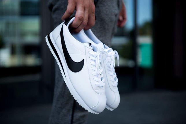 Мужские кроссовки Nike Cоrtez Classic Leather Белые и Черные 41-45р