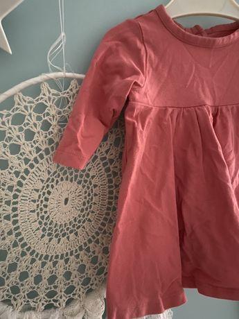 Bawełniana sukienk tunika kloszowana koralowa marks & spenser