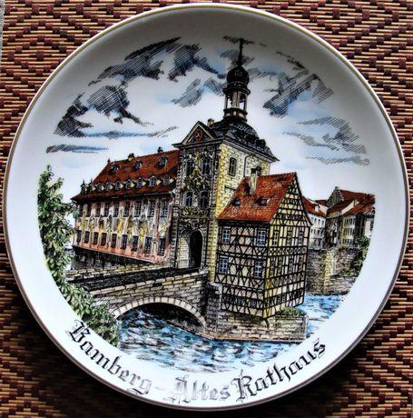 Talerz - pamiątka z Bambergu, porcelana