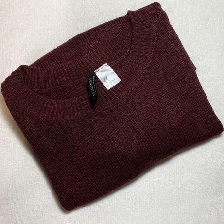 Sweter sweterek bordowy cieply m s xs bordo h&m divided