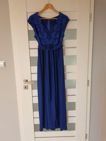 Sukienka dluga koronka niebieska chabrowa rowniez ciazowa 42 44