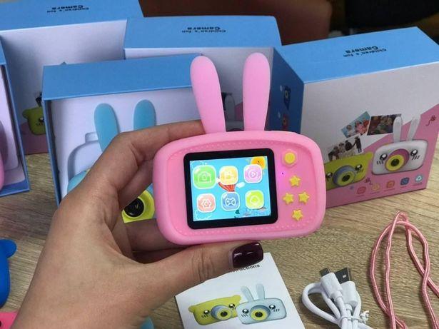 Настоящий Цифровой детский фотоаппарат в силиконом чехле с ушками