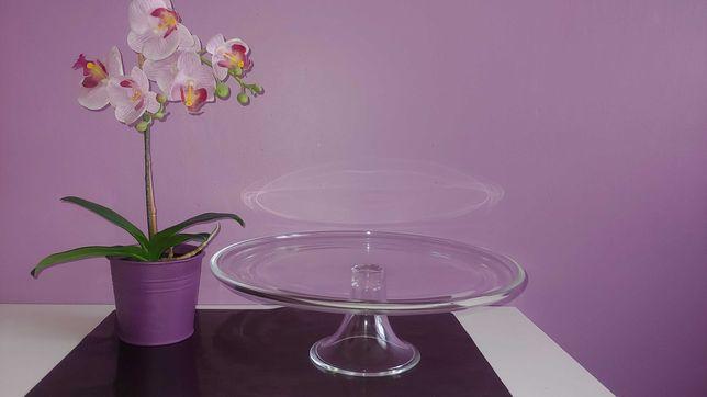 Patera szklana tortownica duża 30 cm