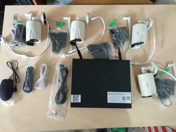 CCTV Sistema Vídeo Vigilância Wi-Fi 4 Câmaras 1080P