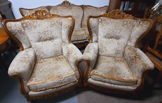 Wypoczynek ludwik. Sofa, 2 fotele, kanapa, drewno, welur, stylowa