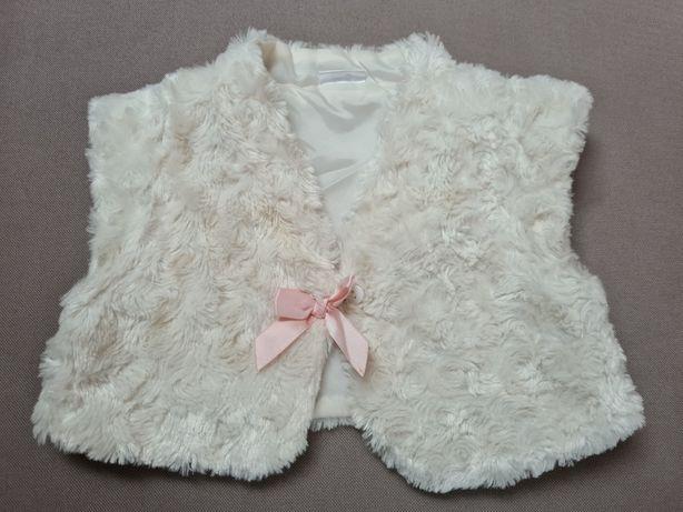 Kamizelka/futerko/bolerko dziewczęce białe z różową kokardką r. 86