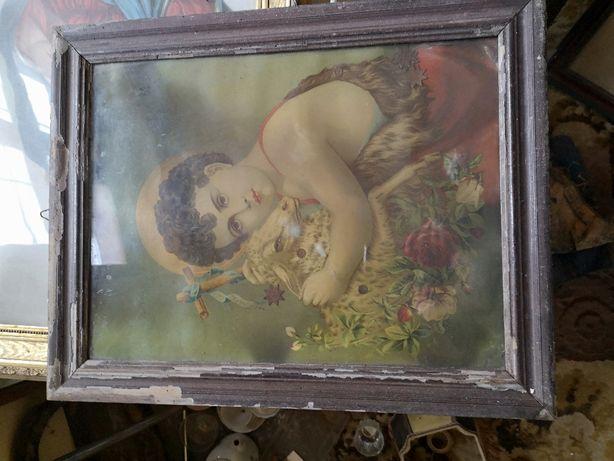 Obraz Młody Jan Chrzciciel - Antyk - pięknie zdobiony - Oryginał