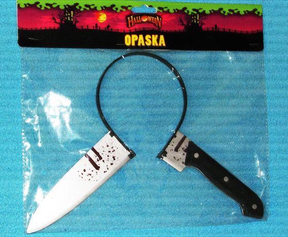 Halloween nóż w głowie opaska przebranie gadżet nóż wbity w głowę krew
